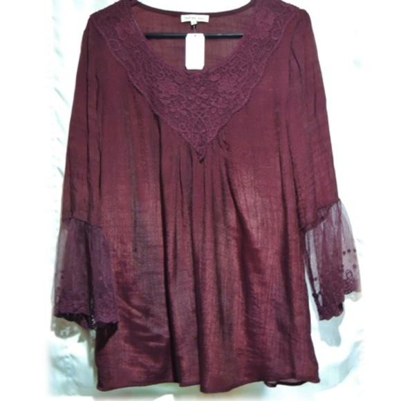 fd8467efcd9 Indigo Soul Tops | Sheer Wine Crochetlace Tunic | Poshmark